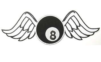 Parche de tela bordada con diseño de alas de billar y 8 bolas ...