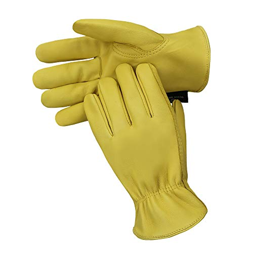 OLSON DEEPAK Sheepskin Gloves Leather gloves Handing workshop Gloves Driving/Riding/Gardening/Farm - Extremely Soft and Sweat-absorbent (Large, Full-Leather) (Leather Chore Glove)