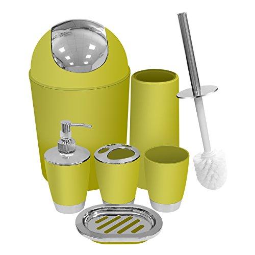 Yellow Bathroom Accessories Set 6 Pieces Plastic Bathroom Ac