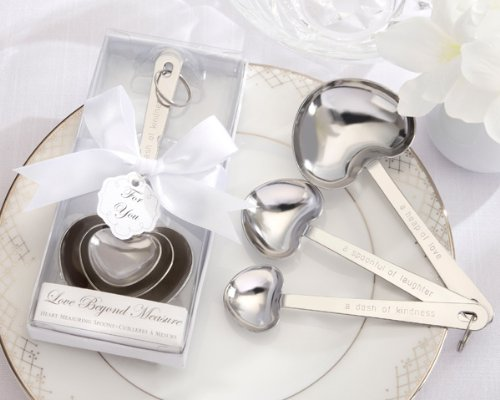 <i>Simply Elegant</i> ''Love Beyond Measure'' Heart-Shaped Stainless-Steel Measuring Spoons -48 count by FavorWarehouse