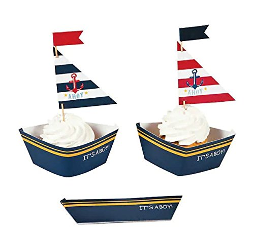 (Nautical Cupcake Decoration Set - Cupcake Wrappers with Picks, 100pcs, Baby Shower or)