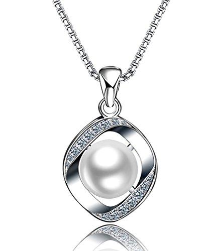 925 Silver Pendant Necklace (DASATA Women's 925 Sterling Silver Pearl Pendant Necklace ZZ01 White)