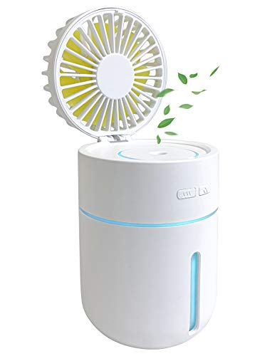 New Chrono Ultrasonic Cool Mist Humidifier with Fan, Portable USB Rechargeable Battery, 400ml Capacity with 7 Color Night Lights, Small Personal Desktop Air Humidifying for Home Bedroom Car & Office