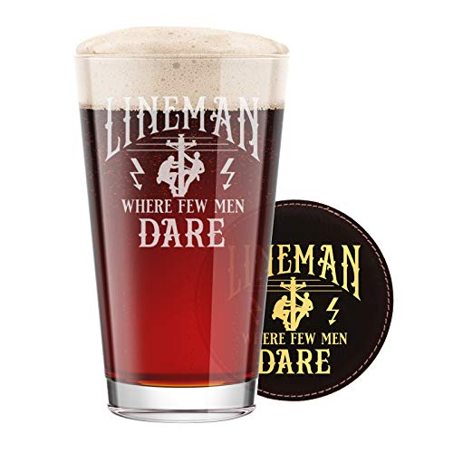Etched Glass Coasters - BadBananas Lineman Gifts - 16 oz Engraved Pint Beer Glass with Etched Coaster - Funny Gag Gift for Lineman