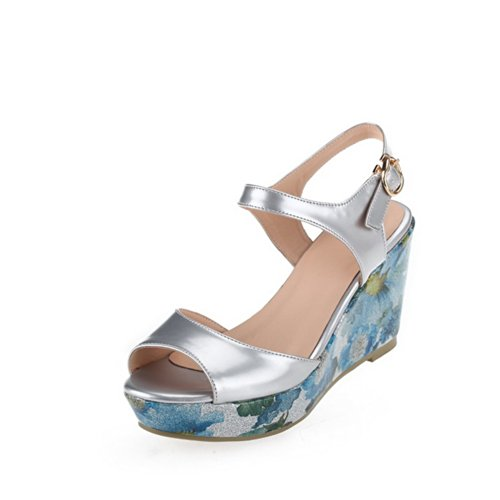 VogueZone009 Womens Open Toe High Heel Platform Wedges PU Soft Material Solid Sandals with Buckle, Blue, 4.5 UK