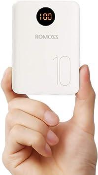 Romoss Bateria Externa para Movil, Powerbank 10000mah Cargador Portatil con Entrada L igtning Micro USB Tipo c, 2 Salidas USB 2,1A para la Mayoría de los Smartphone, Tabletas y Otros Dispositivos: Amazon.es: