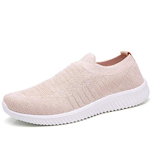 (HKR Walking Shoes for Women Lightweight Mesh Knit Slip On Sneakers Summer Breathable Washable Washable 8 US Pink(WD003fense40))