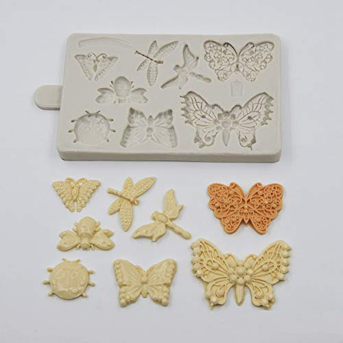 Butterfly Clay Mold - Butterfly & Insect Silicone Dessert Molds Cake Decor Molds Art Plaster Craft Molds DIY Handmade Candy Moulds Fondant Chocolate Gum Paste Mold Resin Crafts Gypsum Mold Bakeware Pan Baking Tools