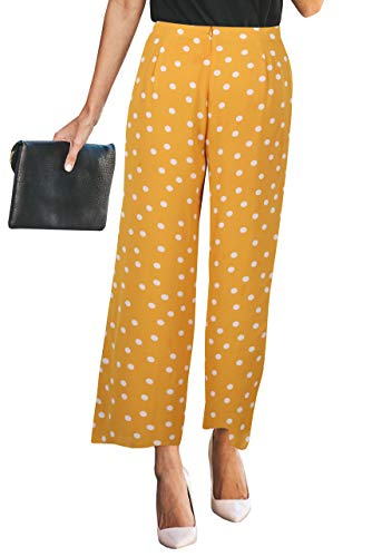 Flower Print Zipper - Changger Womens Palazzo Wide Leg Pants High Waisted Chiffon Floral Print Loose Casual Trouser with Zipper Closure Yellow