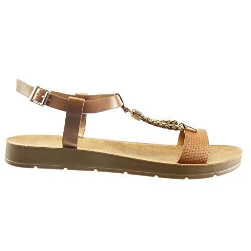 Angkorly - Chaussure Mode Sandale salomés ouverte femme peau de serpent tréssé métallique Talon compensé plateforme 2 CM - Camel