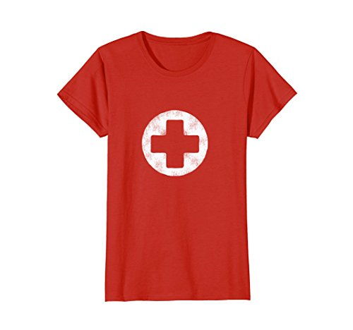 Womens White Faux Stone Round Medical Cross Tee Shirt Nurses XL - Costume Lifeguard Halloween