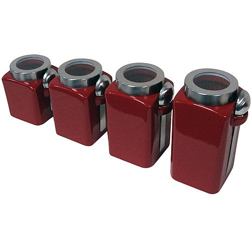 Mainstays Red Stonewear Kitchen Canister Set, 4pc MS11-039-100-11