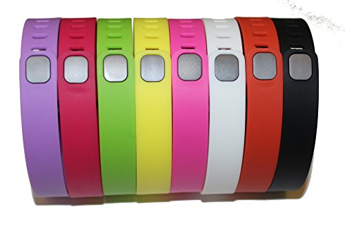 NICKSTON 8 Large Size 1 Violet 1 Rose/Fuchsia 1 Green 1 Yellow/Lemon 1 Pink/Purple 1 White 1 Tangerine 1 Black Rubber Bands (With Clasps) for Fitbit Flex Bracelet Tracking Exercise Activity Sport by NICKSTON