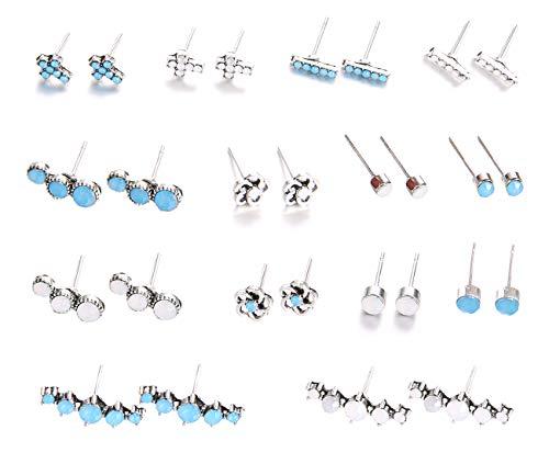 MEYFANCY Multiple Stud Hypoallergenic Earrings Set, Boho Vintage Dangle Ear Ring, Bohemian Ear Piercing Jewelry (Set-02 14 Pairs)
