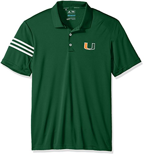 Hurricane Spring (adidas NCAA Miami Hurricanes Adult Men Spring Game 3-Stripe Polo,Large,Dark Green)