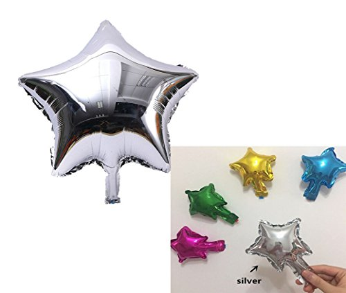 (Yalulu Pack of 50 Mini 5 InchStar Shaped Balloon Foil Balloon Mylar Balloon Cake Topper Party Balloon Cake Decorations for Birthday Baby Shower Wedding (Silver))