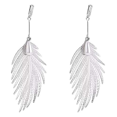 Large Feather Earring Silver Gold Plated Long Dangle Gold Link Leaf Drop Earring For Girls Women, Flight (Silver - Link Leaf Sterling Silver
