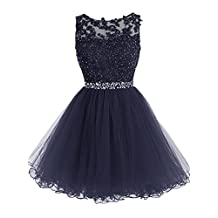 Tideclothes Short Beaded Homecoming Dress Tulle Applique Evening Dress