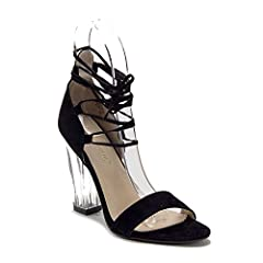 594b957a639 New Women s Lace Up Ankle Strappy Gladiator Clear Lucite Heel .