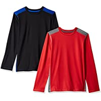 Amazon Essentials Boys' 2-Pack Long-Sleeve Pieced Active Tee