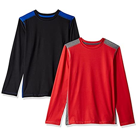 Amazon Essentials Boys' 2-Pack Long-Sleeve Pieced Active Tee 1