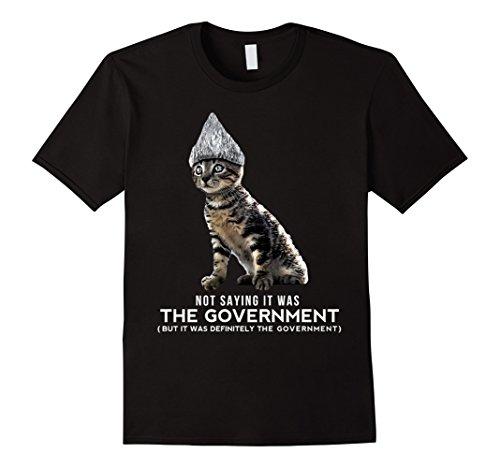 Tin Man Costume Tin Foil (Mens Funny Halloween Cat Tin Foil Hat Conspiracy Shirt for Men Large Black)