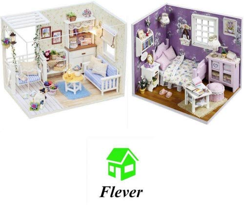 Flever Dollhouse Miniature DIY House Kit Creative Room With Furniture and Glass Cover for Romantic Artwork Gift(Kitten Diary and Sweet Sunshine)