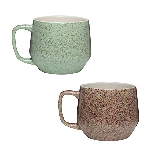Amici Home Primitive Collection Sandstone & Granite Coffee Mugs, Textured Reactive Glaze Ceramic Drinkware, 22 Ounce Capacity, Assorted set of -