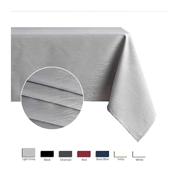 maxmill Jacquard Table Cloth Swirl Pattern Spillproof Wrinkle Resistant Oil Proof Heavy Weight Soft Tablecloth for Kitchen Dinning Tabletop Decoration Outdoor Picnic Rectangle 52 x 70 Inch Light Grey - Diverse Choices: These crafted tablecloths are available in 9 vibrant colors and 7 sizes of rectangular and round shapes. We also offer matching and pleasing napkins. Premium Quality: This durable tablecloth is made of premium and heavy weight polyester jacquard fabric to ensure the protection of your table and furniture. Made of well treated fabric, this table cloth is smooth, spill-proof and wrinkle resistant. Versatile Occasions: Our delicate tablecloth is designed for a variety of happy occasions - suitable for your dining-room table, kitchen table, Cafes, restaurants, diners, catering, weddings, brunches, buffets, parties, picnics, outdoor patio table and more. - tablecloths, kitchen-dining-room-table-linens, kitchen-dining-room - 41qFy %2BCXFL. SS570  -