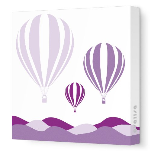 Avalisa Stretched Canvas Nursery Wall Art, Hot Air Balloon, Purple Hue, 12