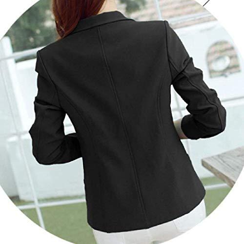 Bavero Schwarz Ragazzi Slim Solidi Classiche Donna Da Autunno Tasche Manica Giubotto Fit Button Ovest Colori Elegante Corta Anteriori Tailleur Giacca Giaccone Confortevole gRpRw48x1q