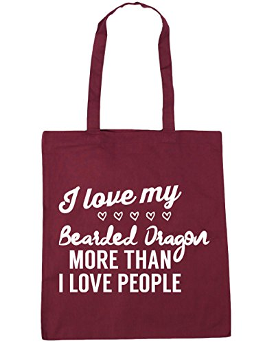 HippoWarehouse I Love My Bearded Dragon – más de I Love People Tote Compras Bolsa de playa 42 cm x38 cm, 10 litros granate