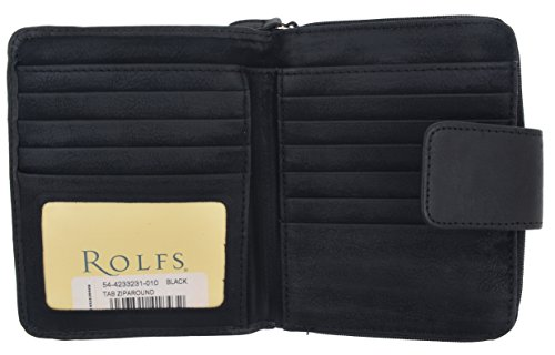 Rolfs Wallet Black - Rolfs Women's Genuine Leather Tap Zip-Around Multi Credit Card ID Holder Ladies Wallet