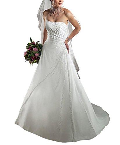Trendigen Hochzeitskleider Satin Zug GEORGE BRIDE Brautkleider Kapelle Elfenbein traegerlosen 0EX5Xgqw