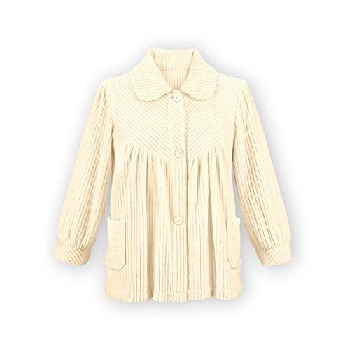 Women's Soft Fleece Button Down Night Shirt with Pockets - Comfy Flattering Fit Over Pajamas or Nightgown, Ivory, Large
