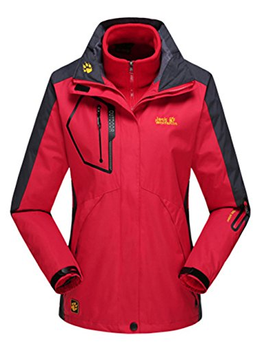 Lottaway Couple Detachable Fleece Waterproof Outdoor Snow Ski-wear Parka Coat Red 3XL For Women by Lottaway®