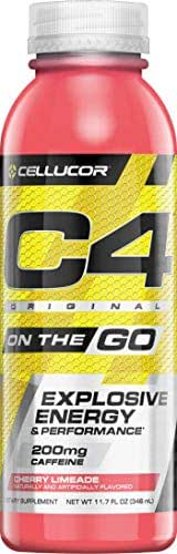 Cellucor C4 On The Go Zero Sugar Pre Workout Drink, Energy Drink + Beta Alanine, Cherry Limeade, 11.7 Ounce Bottles (Pack of 12)