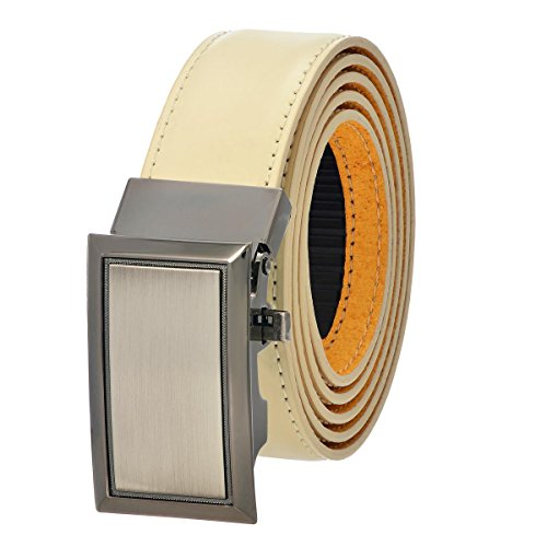 [Genuine Leather Adjustable Belt with Automatic Buckle - Ivory 44