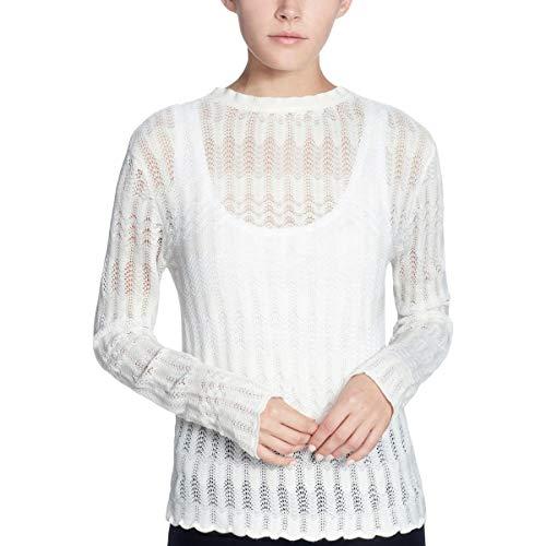 CATHERINE CATHERINE MALANDRINO Womens Pointelle Crewneck Sweater White XL
