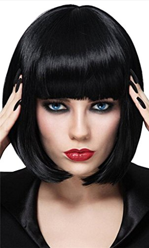Black Bob Wigs and A Wig Cap, Short Straight Flat Bangs, Sexy Stylish Cosplay Party Hair Wigs, wig003RBK -