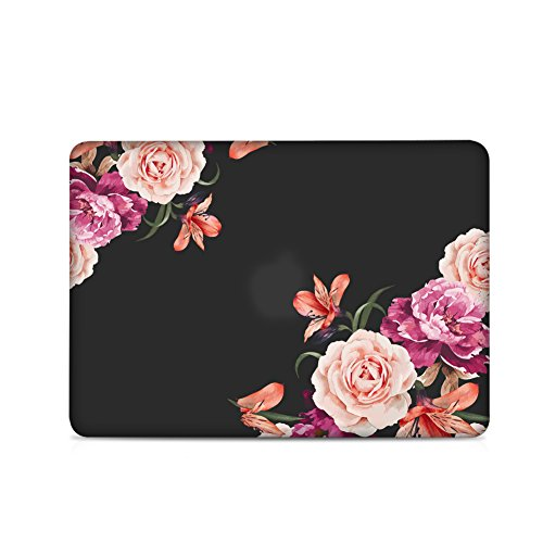 iLeadon Macbook Pro 13 Inch Case With CD ROM 2008-2012 Release Model A1278 Rubberized Hard Shell Cover+Keyboard Cover For MacBook Pro 13 Non Retina Display, Peony Flower