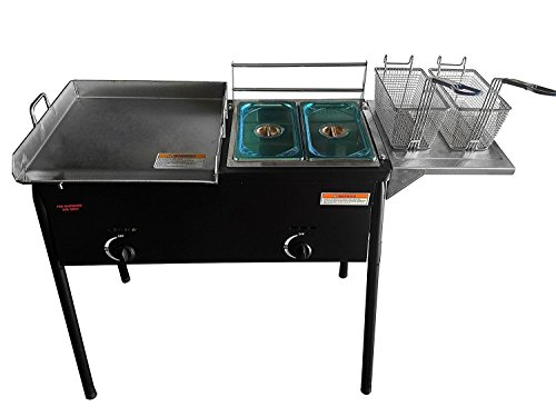 "Bioexcel Taco Cart with 18"" X 16"" Stainless Steel Griddle - Portable Outdoor Heavy Duty Two Tank Double Deep Fryer, Propane Gas Dual Burner with 2 Deep Trays & Stove - All 3 in 1"