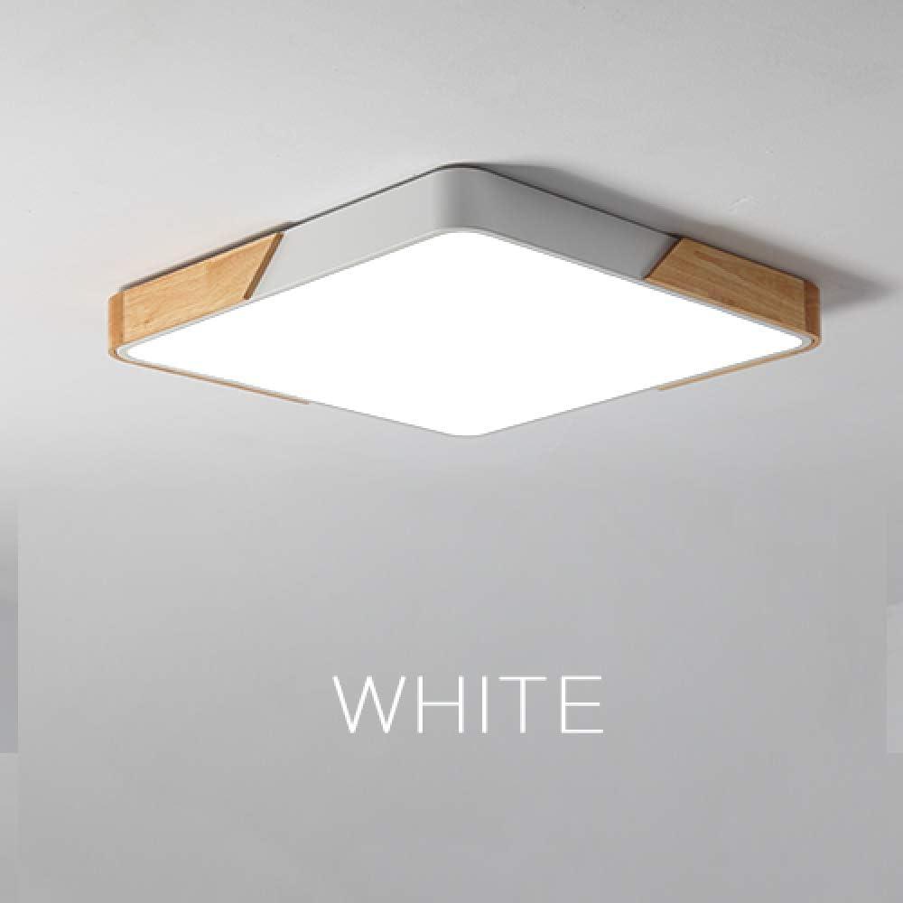 BFMBCHDJ Luz de techo LED moderna Luz delgada Accesorio de iluminación de madera Montaje en superficie Sala de estar Decoración del hogar Balcón Luz de techo Blanco 60cmx60cm: Amazon.es: Iluminación