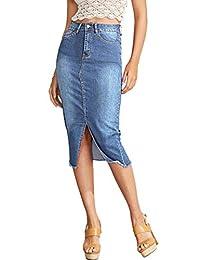 SheIn Falda de Mezclilla de algodón elastizada con Borde Deshilachado y Dobladillo Elegante para Mujer, Azul Claro, XL