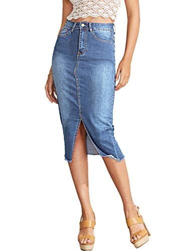 - SheIn Women's Elegant Slit Hem Frayed Trim Stretchy Cotton Denim Skirt Light Blue