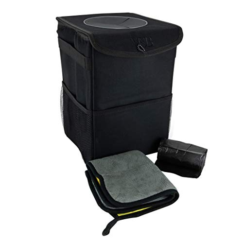 M&B. Car Trash Can - The Luxury Edition. No-Smell, Premium Leak Proof Construction & Watertight Liner Won't Cave, Spill, Tip or Contaminate Vehicle Guaranteed | Cleaning Cloth & 30 Disposable ()