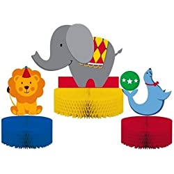 Creative Converting Circus Time Honeycomb Centerpiece Set, 3-Piece (3-Pack)