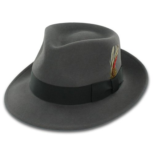 Belfry Gangster 100% Wool Stain-Resistant Crushable Fedora in 5 Sizes and 2 Colors L (1920s Gangster Fashion)