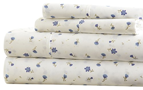 Simply Soft Ultra Soft Floral Patterned 4 Piece Bed Sheet Set, Queen, Light Blue