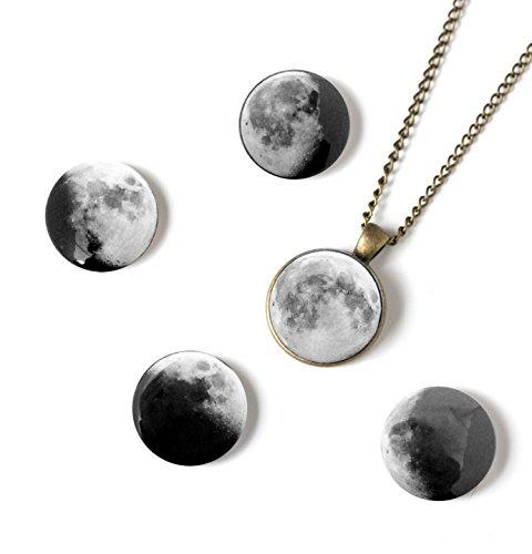 Yugen Tribe Interchangeable Moon Phase Necklace (Antique Bronze Tone)